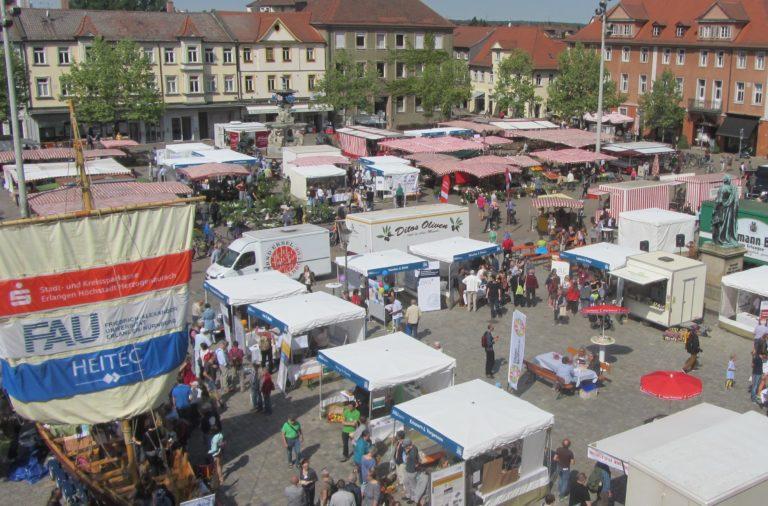 Markttage des Wissens Luftaufnahme aus Erlangen, Foto: Kulturidee